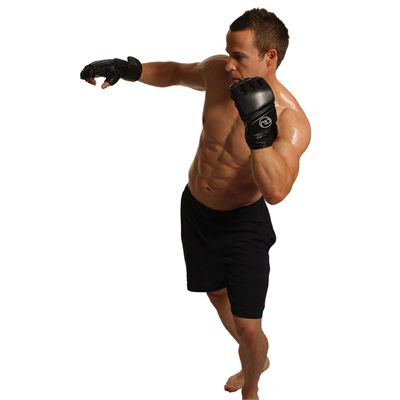 Boxing Mad Leather Pro Grappling Gloves - In Use