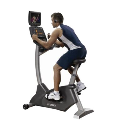 Cybex 750 LCD Upright Cycle with PEM In Use