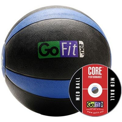 GoFit 15lb Rubber MedBall Black Blue with DVD