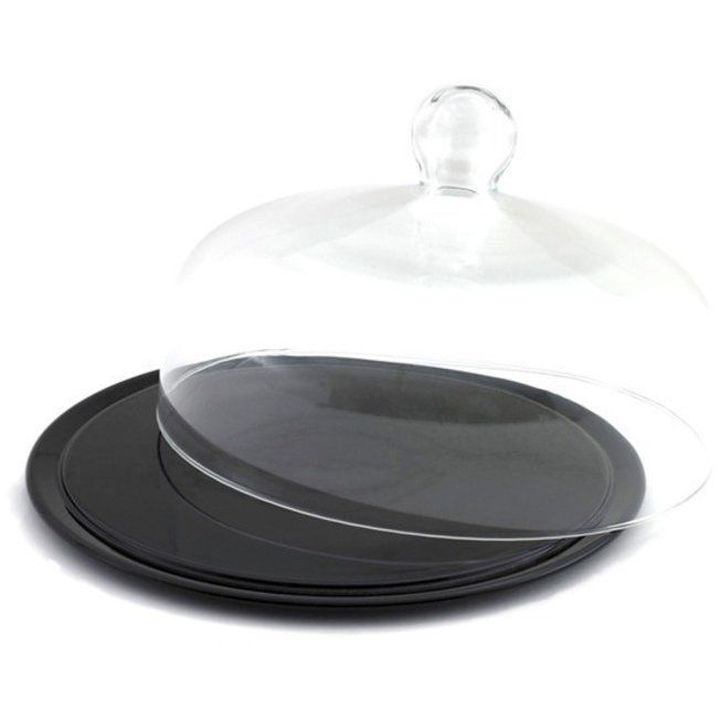 Black Ceramic Cake Stand With Dome