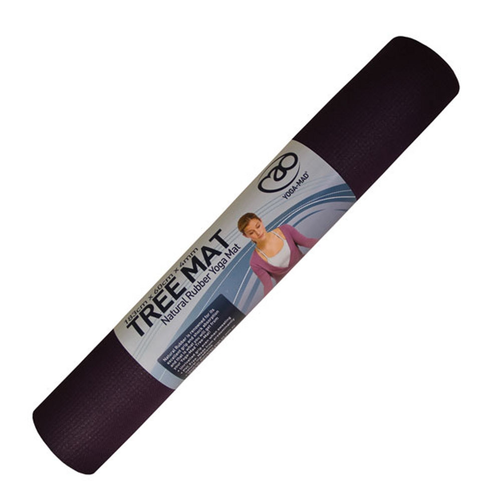 Yoga Mad Tree Mat Natural Rubber Yoga Mat  Aubergine