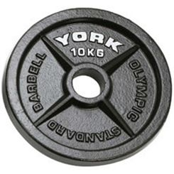 York 10kg Hammertone Cast Iron Olympic Plate
