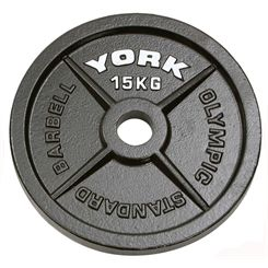 York 15kg Hammertone Cast Iron Olympic Plate