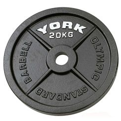 York 20kg Hammertone Cast Iron Olympic Plate
