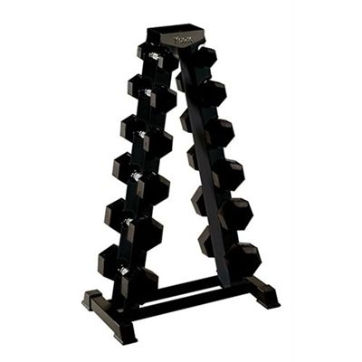 York Rubber Hex Dumbbells with Rack