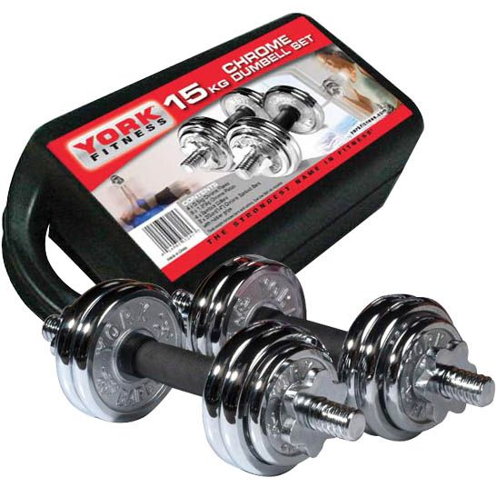 York Chrome Dumbbell Set 15kg