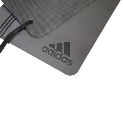 adidas Elite Training Mat-Grey and Black - Logo View