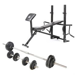 adidas Essential Elite Station with 50kg Cast Iron Weight Set