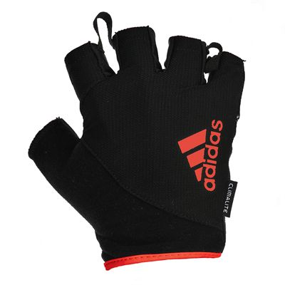 adidas Essential Fingerless Weight Lifting Gloves-Black and Red