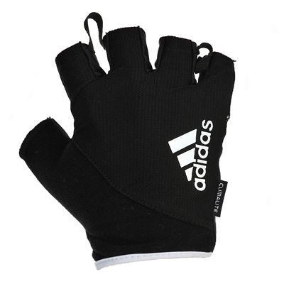adidas Essential Fingerless Weight Lifting Gloves-Black and White