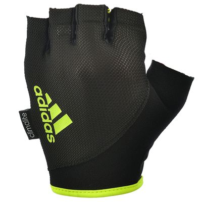 adidas Essential Fingerless Weight Lifting Gloves-Black and Yellow