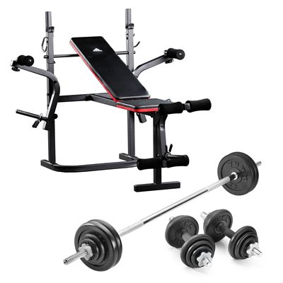 adidas Essential Multi Purpose Bench with 50kg Cast Iron Weight Set