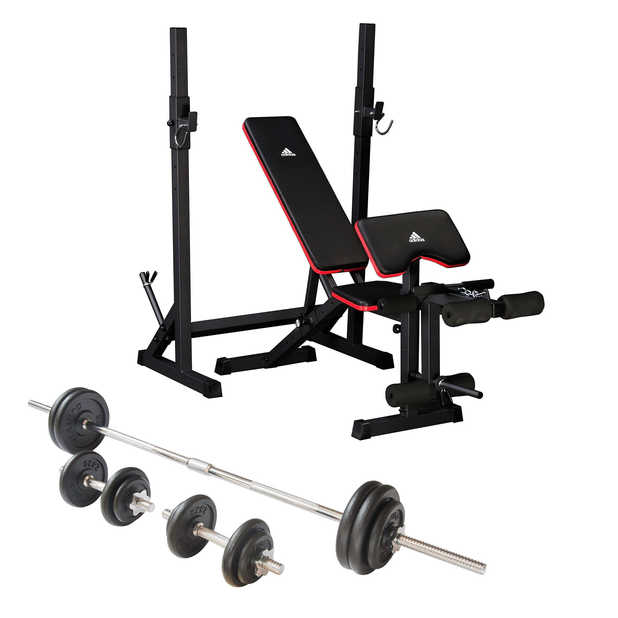 Adidas essential weight bench and viavito 50kg cast iron weight set Weight bench and weights