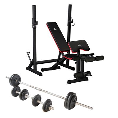 adidas Folding Weight Bench and Viavito 50kg Cast Iron Weight Set