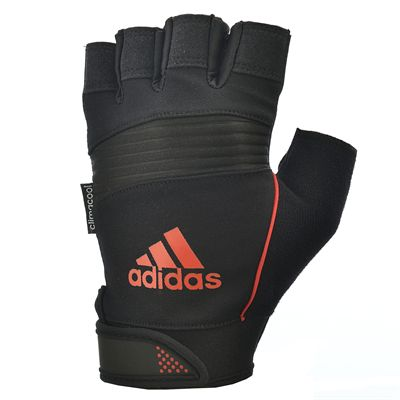adidas Performance Fingerless Weight Lifting Gloves - Black Orange