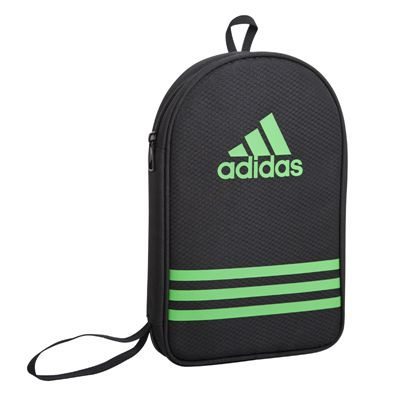 adidas Table Tennis Bat Double Bag - Black and Green - Angle View