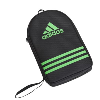 adidas Table Tennis Bat Double Bag - Black and Green - Front