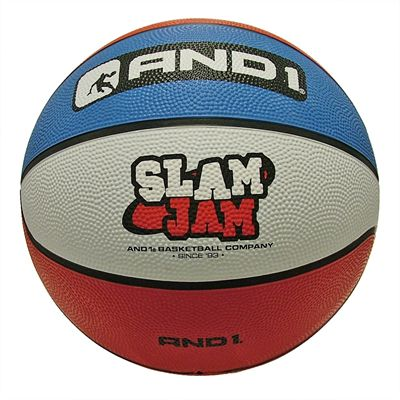 AND1 Slam Jam Rubber Basketball Red Blue White