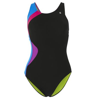 Aqua Sphere Amelia Ladies Swimsuit - Black/Blue/Front