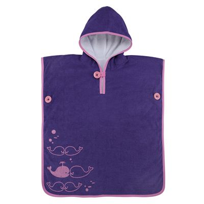 Aqua Sphere Baby Poncho Towel-Purple/Pink-Front