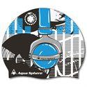 Aqua Sphere Graphic Silicone Swimming Cap-Headphones-Blue Colour