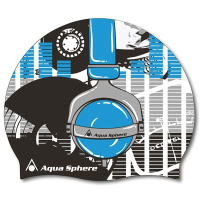 Aqua Sphere Graphic Silicone Swimming Cap-Headphones-Blue Colour