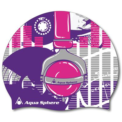 Aqua Sphere Graphic Silicone Swimming Cap-Headphones-Purple/Blue Colour