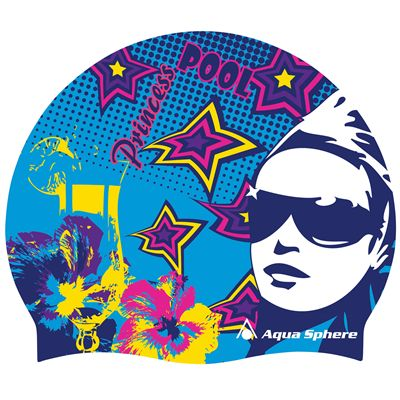 Aqua Sphere Graphic Silicone Swimming Cap-Pool Princess-Blue
