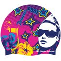 Aqua Sphere Graphic Silicone Swimming Cap-Pool Princess-Pink