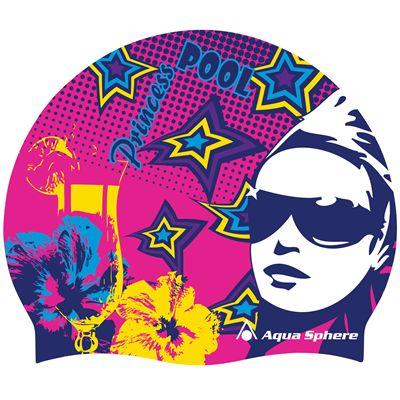 Aqua Sphere Graphic Silicone Swimming Cap-Pool Princess-Pink