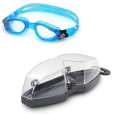 Aqua Sphere Kaiman Swimming Goggles - Clear Lens - Blue - Cover