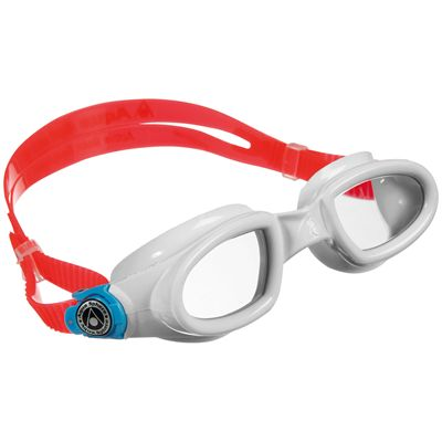 Aqua Sphere Mako Swimming Goggles-Clear Lens-White/Red