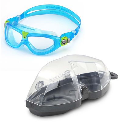 Aqua Sphere Seal 2 Kids Swimming Mask - Clear Lens - Blue - Cover