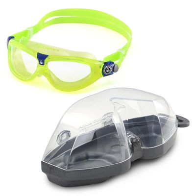 Aqua Sphere Seal 2 Kids Swimming Mask - Clear Lens - Lime - Cover