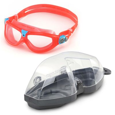 Aqua Sphere Seal 2 Kids Swimming Mask - Clear Lens - Red - Cover
