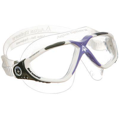 Aqua Sphere Vista Ladies Swimming Goggles-Clear Lens-White/Grey/Lavender