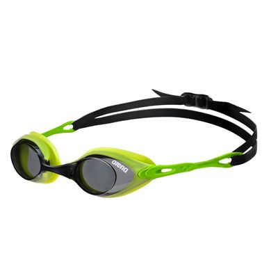 Arena Cobra Swimming Goggles-Smoke and Lime-Side View