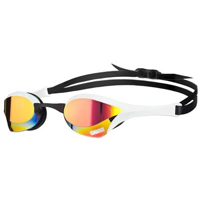 Arena Cobra Ultra Mirror Swimming Goggles-Red and White and Black