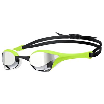 Arena Cobra Ultra Mirror Swimming Goggles-Silver and Green and White