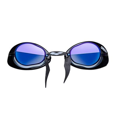 Arena Swedix Mirror Swimming Goggles-Smoke and Blue Lens - Front View