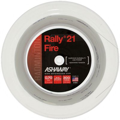 Ashaway Rally 21 Fire Badminton String - 200m Reel - White