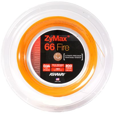 Ashaway Zymax Fire 66 Badminton String-200m Reel-Orange