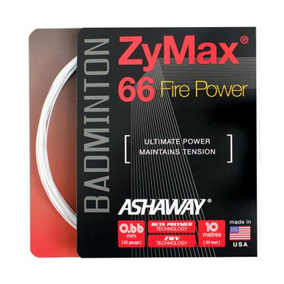 Ashaway Zymax Fire Power 66 Badminton String-10m Set-White