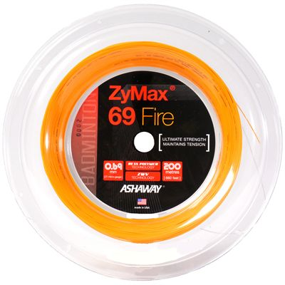 Ashaway Zymax Fire 69 Badminton String-200m Reel-Orange