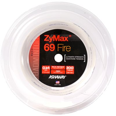 Ashaway Zymax Fire 69 Badminton String-200m Reel-White