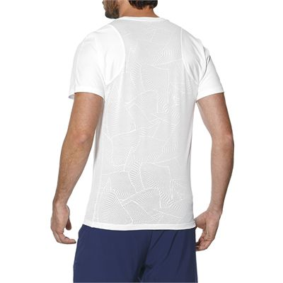 Asics Athlete Cooling Mens Tennis T-Shirt - White - Side - Back