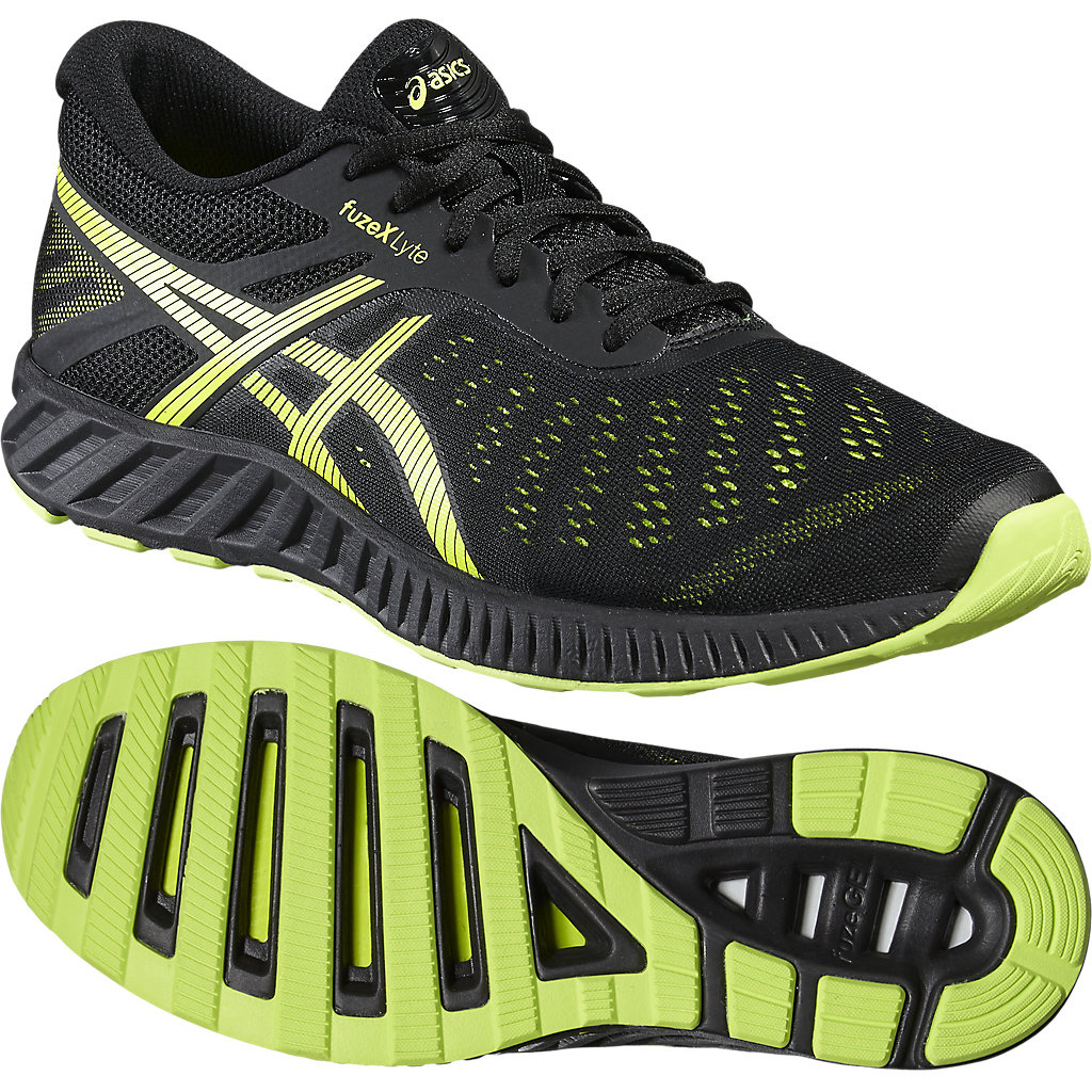 Image of Asics FuzeX Lyte Mens Running Shoes - Black/Lime, 10 UK