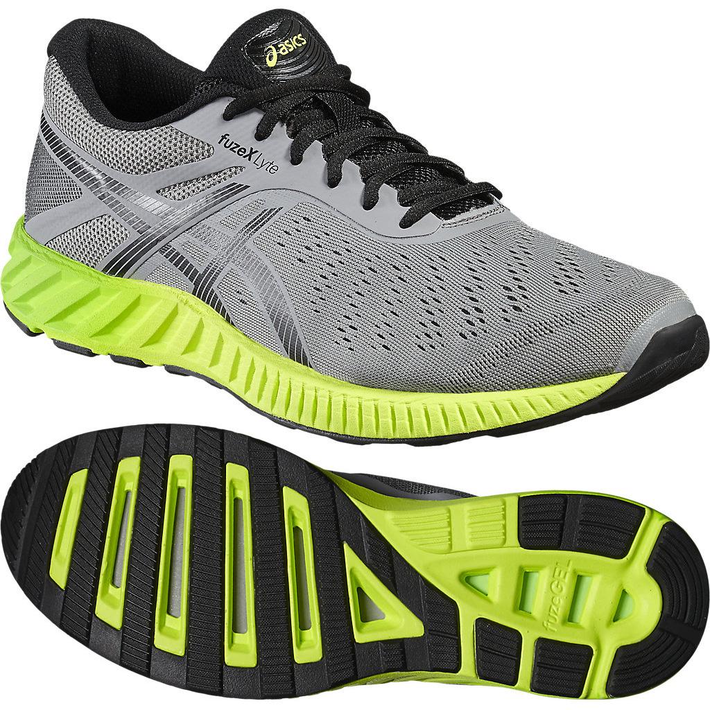 Image of Asics FuzeX Lyte Mens Running Shoes - Grey/Green, 10.5 UK