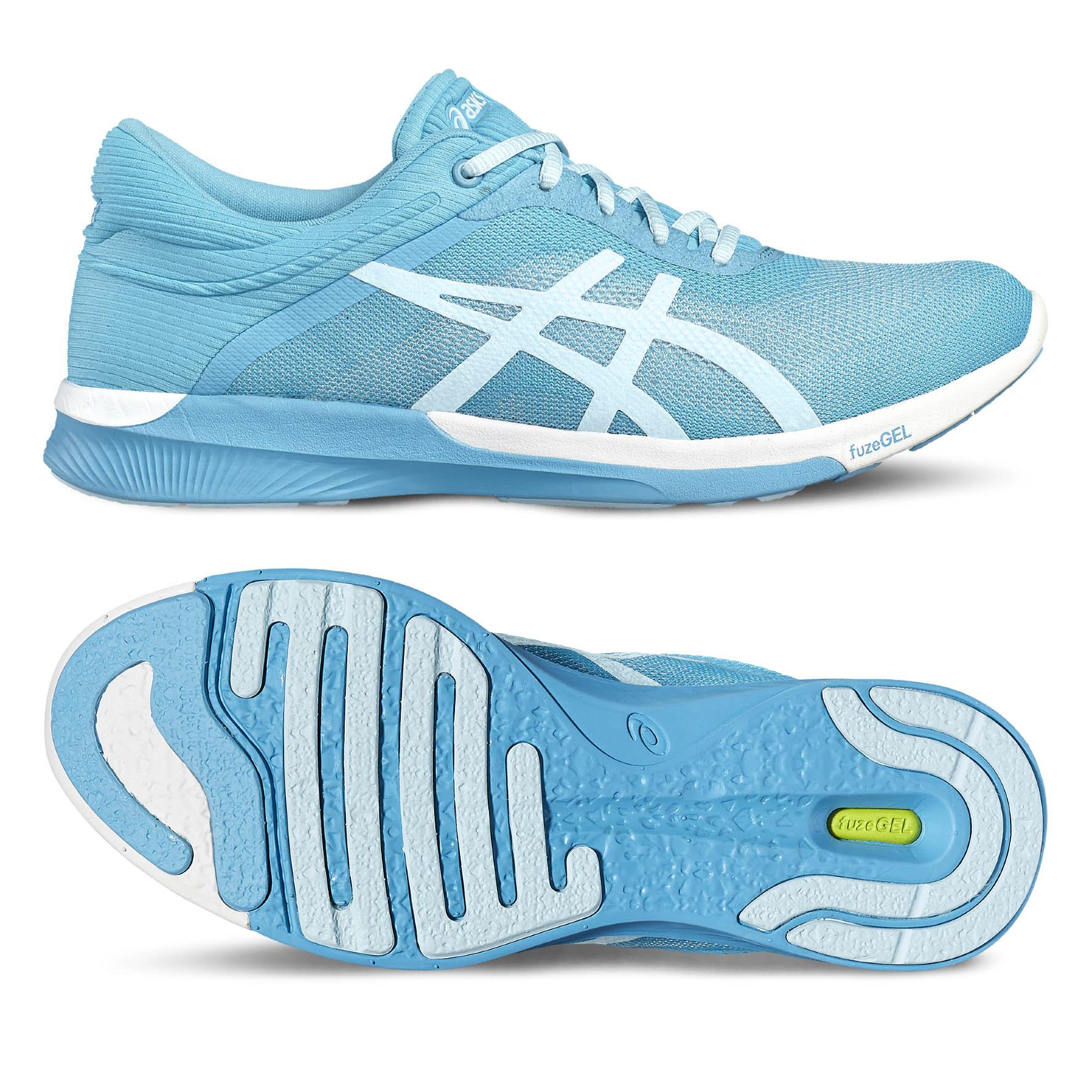 Asics FuzeX Rush Ladies Running Shoes  BlueWhite 8 UK