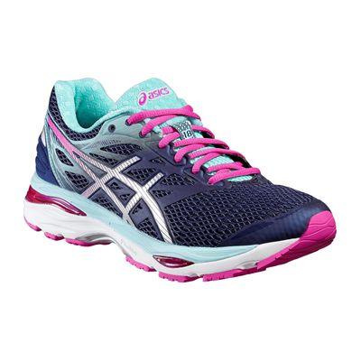 Asics Gel-Cumulus 18 Ladies Running Shoes-Blue-Silver-Pink-Angled